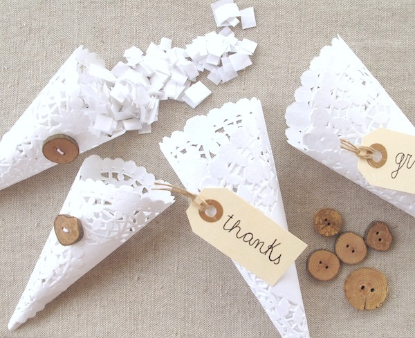 DIY Doily Favor Cones via the Heart Made blog.