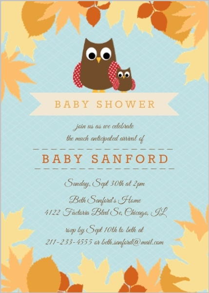 fall baby shower invitations