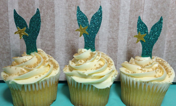 Mermaid Tail Cupcake Toppers from Bird in a Cage Creations