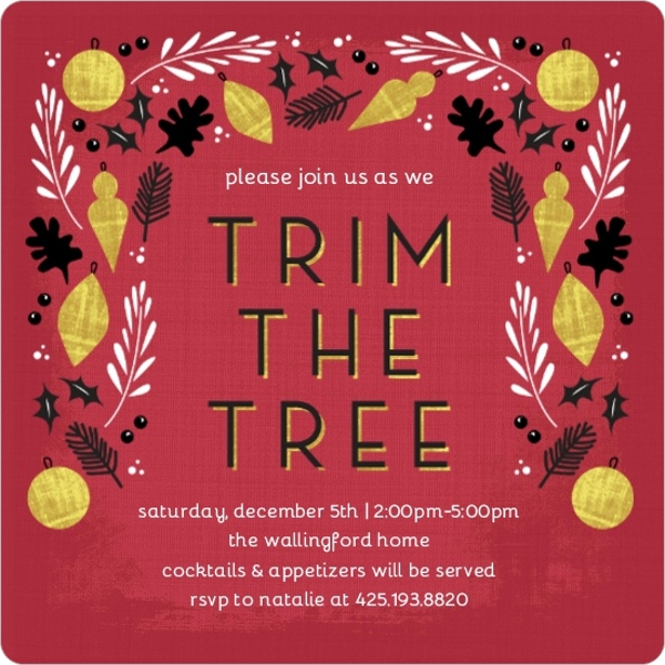 tree trimming party invitations